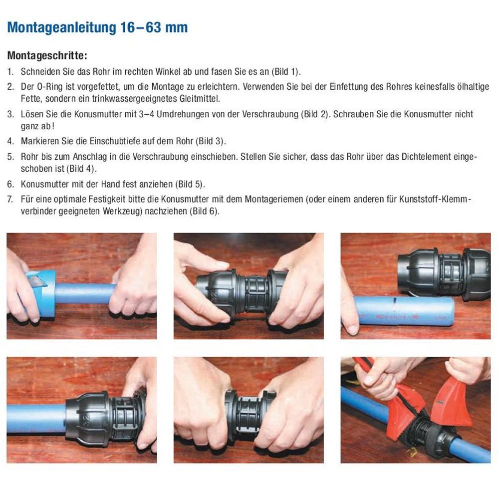 Cool Kunststoff Verschraubung Kupplung 32mm Muffe Klemmverbinder  QR07