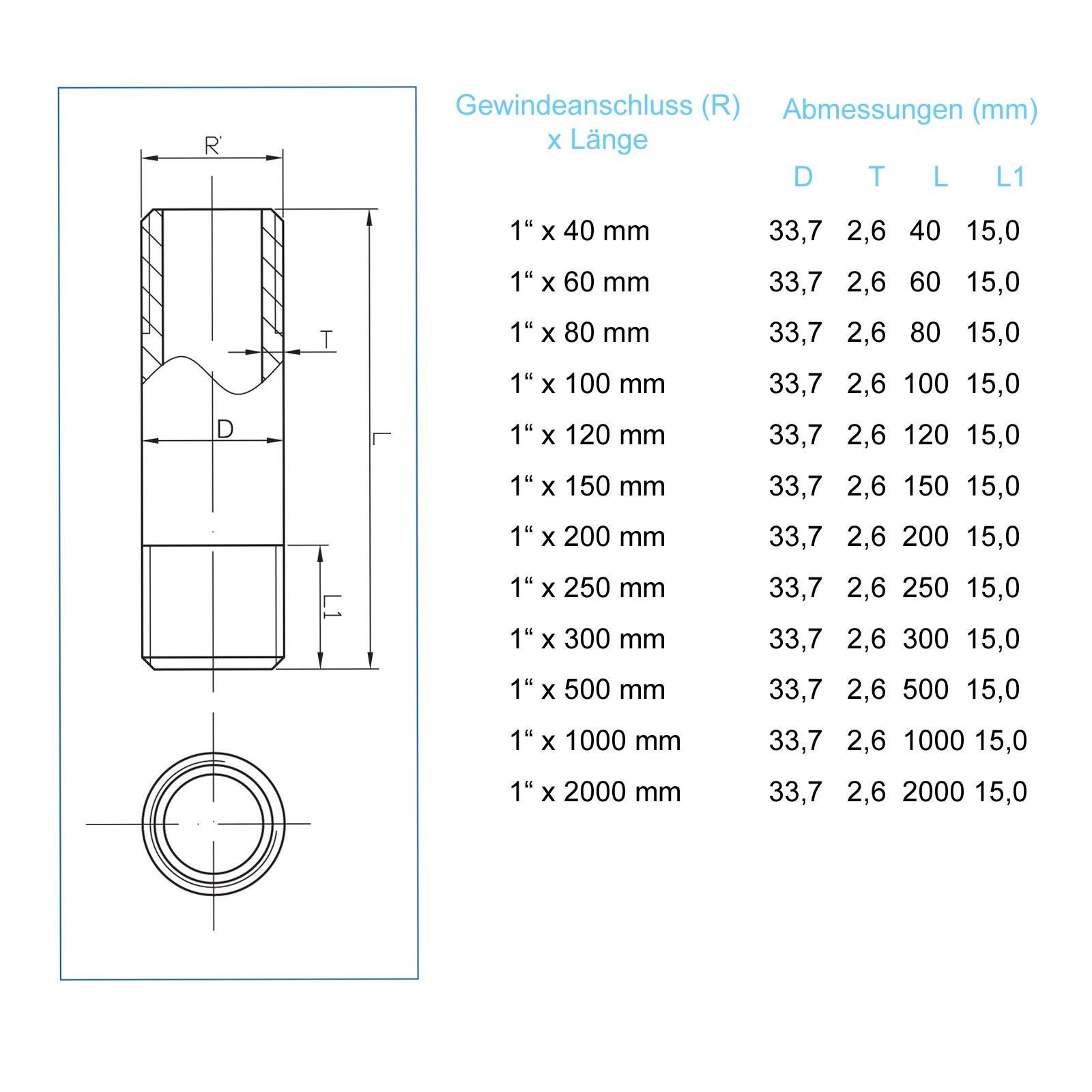 Rohrdoppelnippel 1 Zoll 33,7 x 2000mm 2m DN25 Rohrnippel