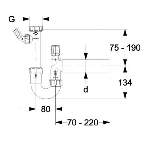 ablaufgarnitur sp lensiphon dn50 siphon sifon sp le. Black Bedroom Furniture Sets. Home Design Ideas