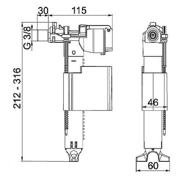 wisa universal ventil f llventil 3 8 wc sp lkasten schwimmerventil ebay. Black Bedroom Furniture Sets. Home Design Ideas