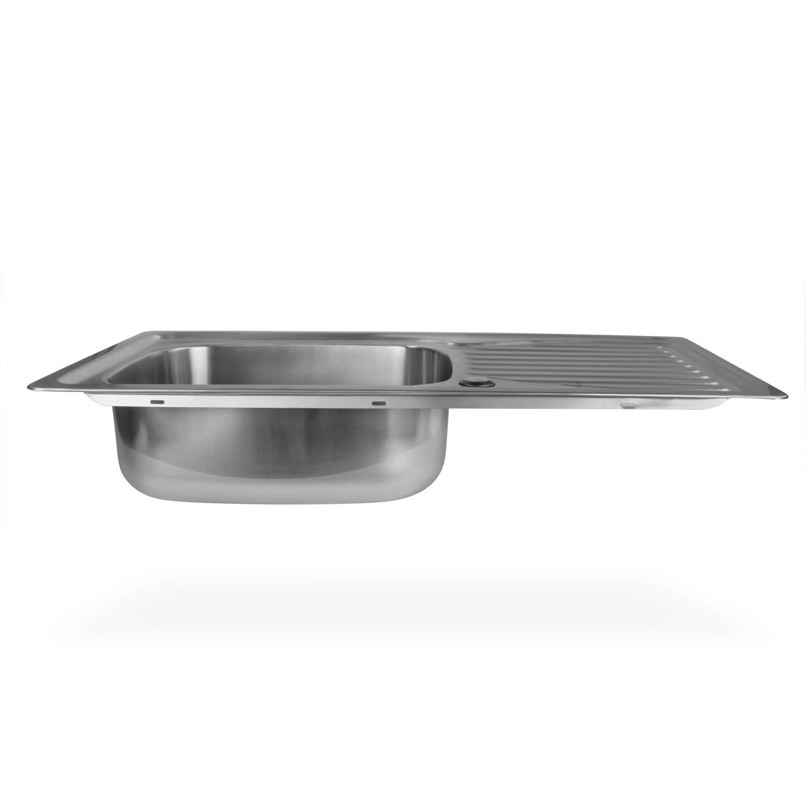 Edelstahl einbausp le hemeral waschbecken links rechteckig for Waschbecken edelstahl