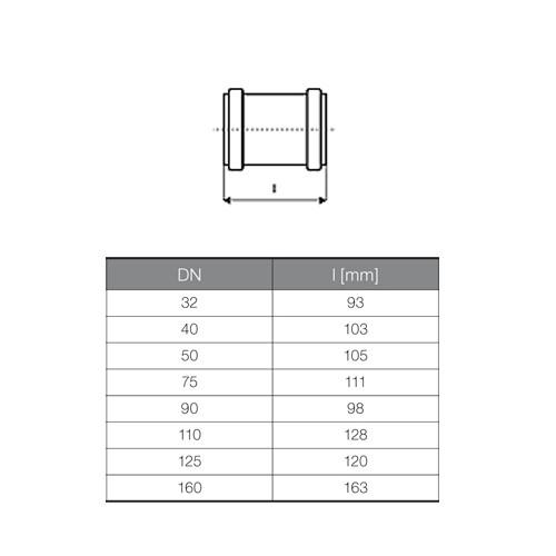 ht berschiebmuffe dn50 rohrmuffe doppelmuffe abwasserrohr. Black Bedroom Furniture Sets. Home Design Ideas