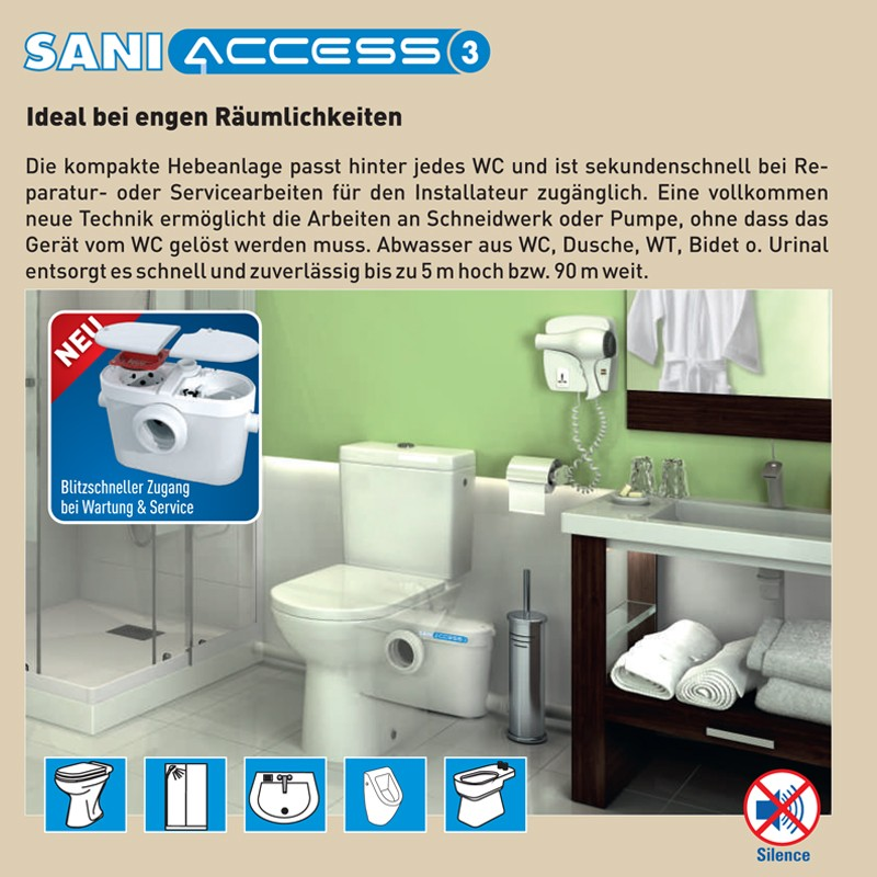 sanibroy saniaccess 3 hebeanlage abwasserpumpe wc dusche waschbecken bad urinal. Black Bedroom Furniture Sets. Home Design Ideas