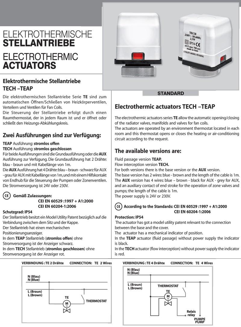elektrothermischer elektrischer stellantrieb stellmotor 230v nc tech 2 draht ebay. Black Bedroom Furniture Sets. Home Design Ideas