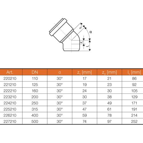 kg bogen dn200 30 grad rohr abwasserrohr kanalrohr orange. Black Bedroom Furniture Sets. Home Design Ideas
