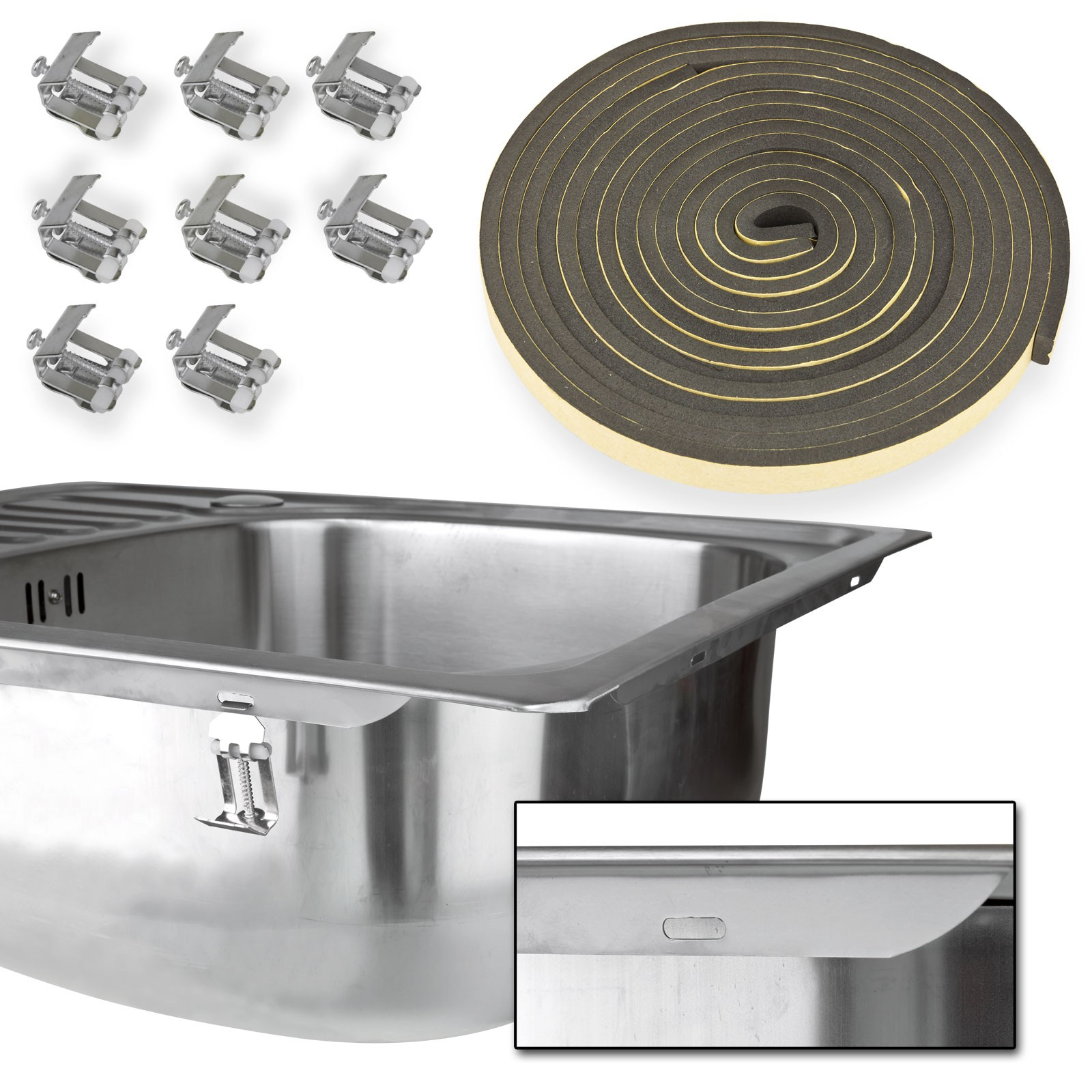 edelstahl waschbecken sp le rechts einbau sp le sp lbecken k chensp le recht eck ebay. Black Bedroom Furniture Sets. Home Design Ideas