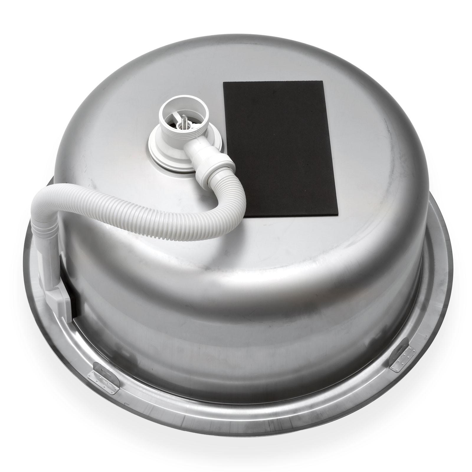 edelstahl einbausp le sp lbecken k chensp le rundbecken rundsp le rund ebay. Black Bedroom Furniture Sets. Home Design Ideas
