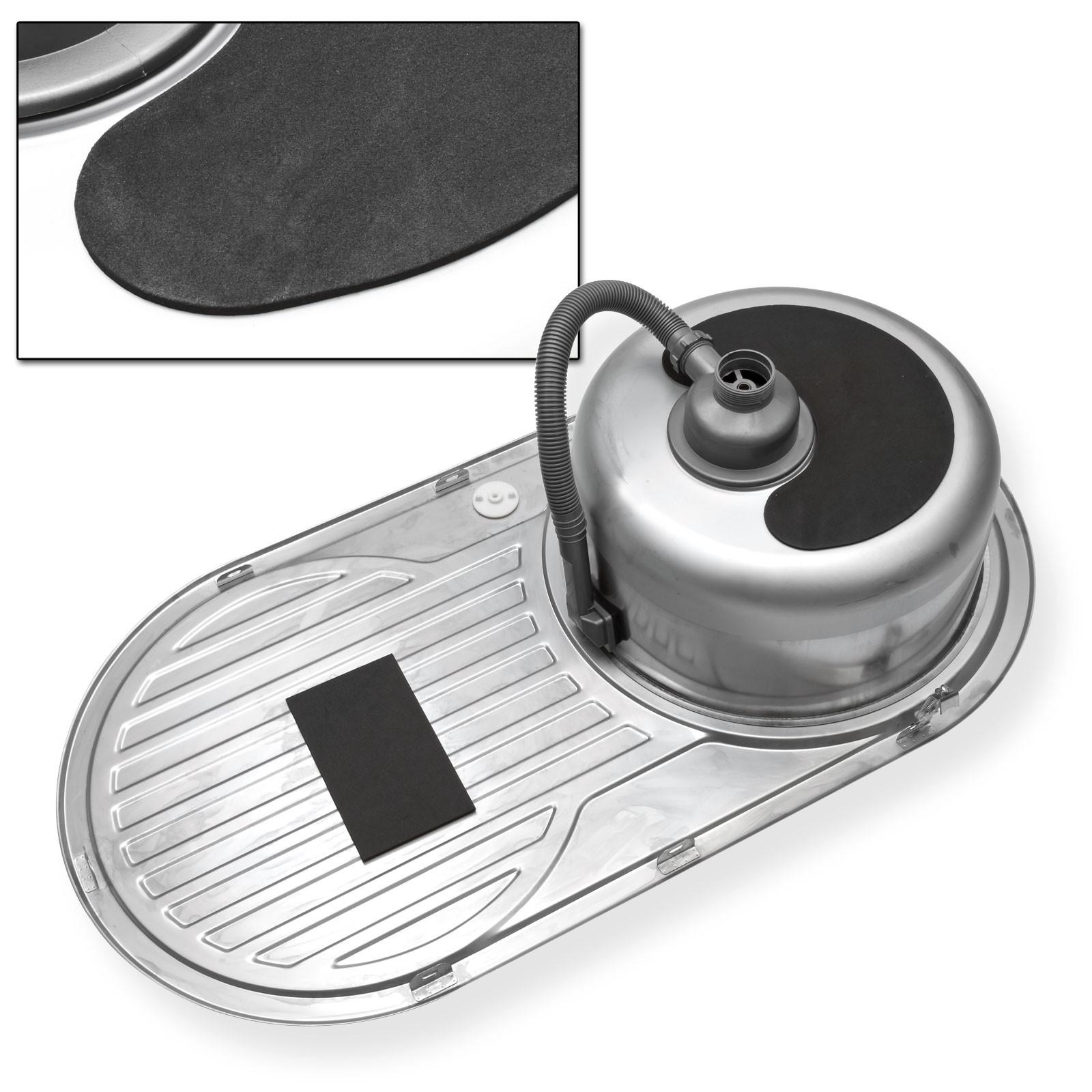 edelstahl waschbecken sp le links einbausp le sp lbecken k chensp le oval ebay. Black Bedroom Furniture Sets. Home Design Ideas