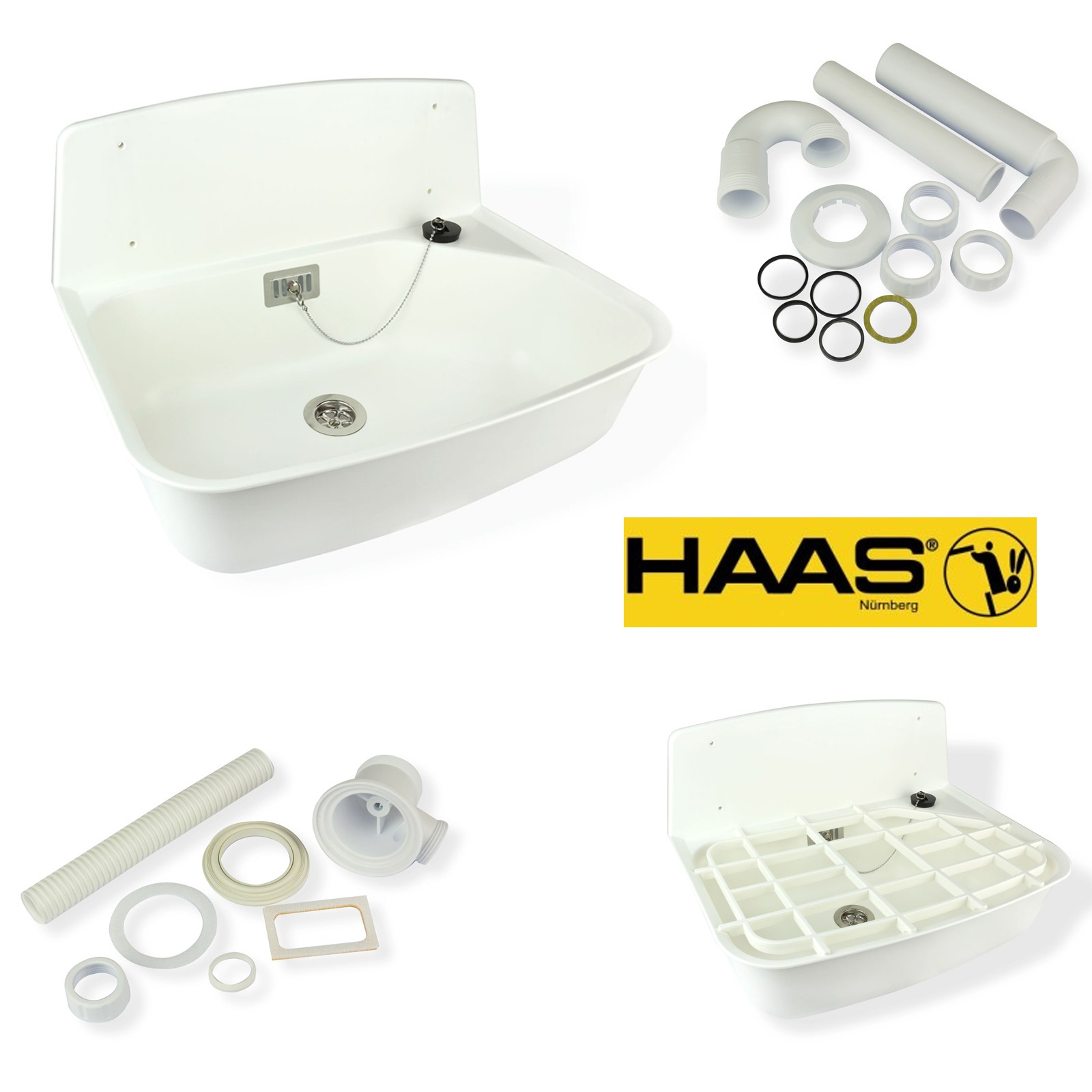 Haas kunststoff ausgussbecken set sophia waschtrog wei for Kunststoff waschbecken