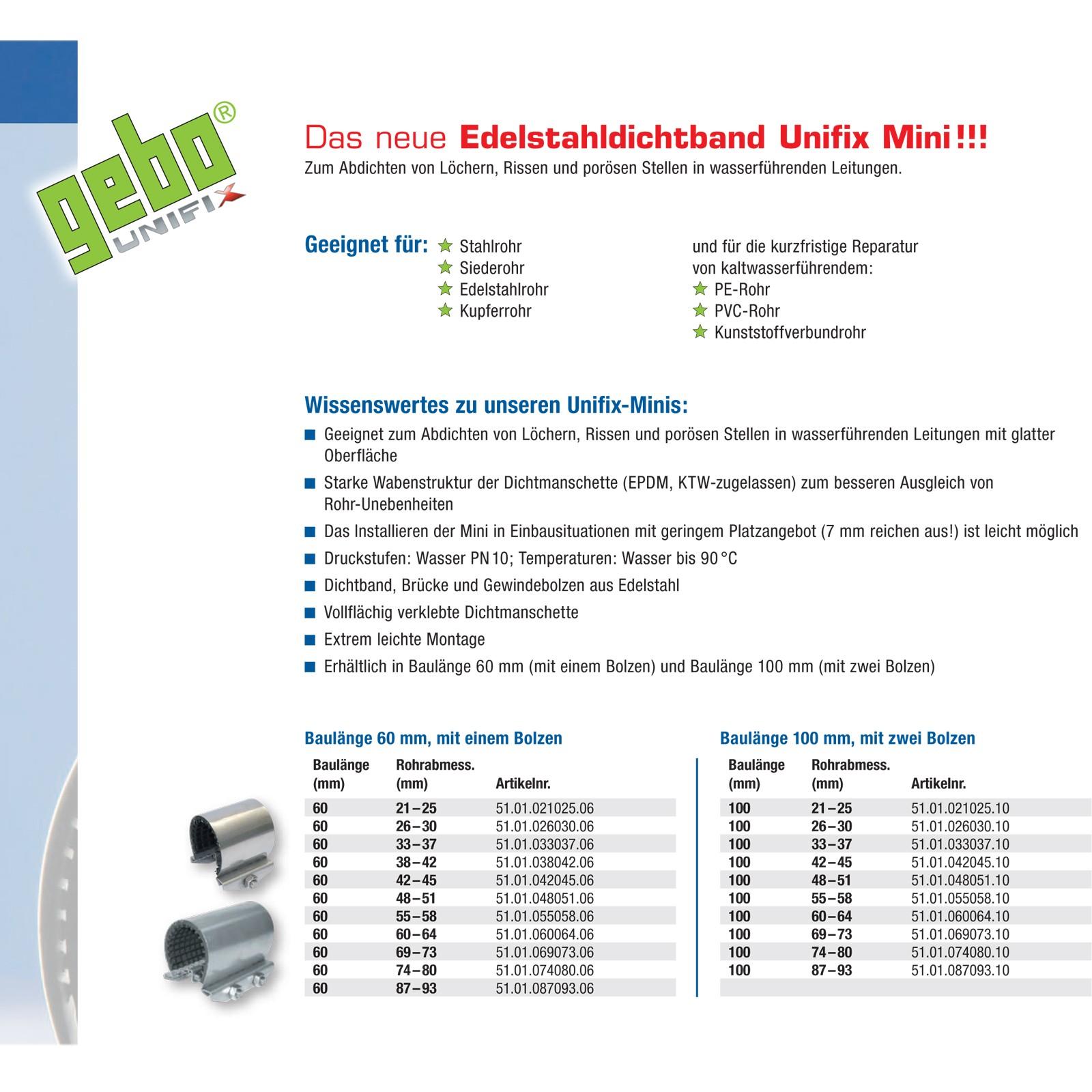 "Schön Gebo Unifix DN 21 22 23 24 25 mm 1/2"" Dichtband Reparaturband  TG22"
