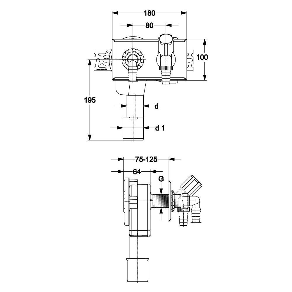 pe unterputz siphon up sifon waagerecht dn 40 50 mm. Black Bedroom Furniture Sets. Home Design Ideas