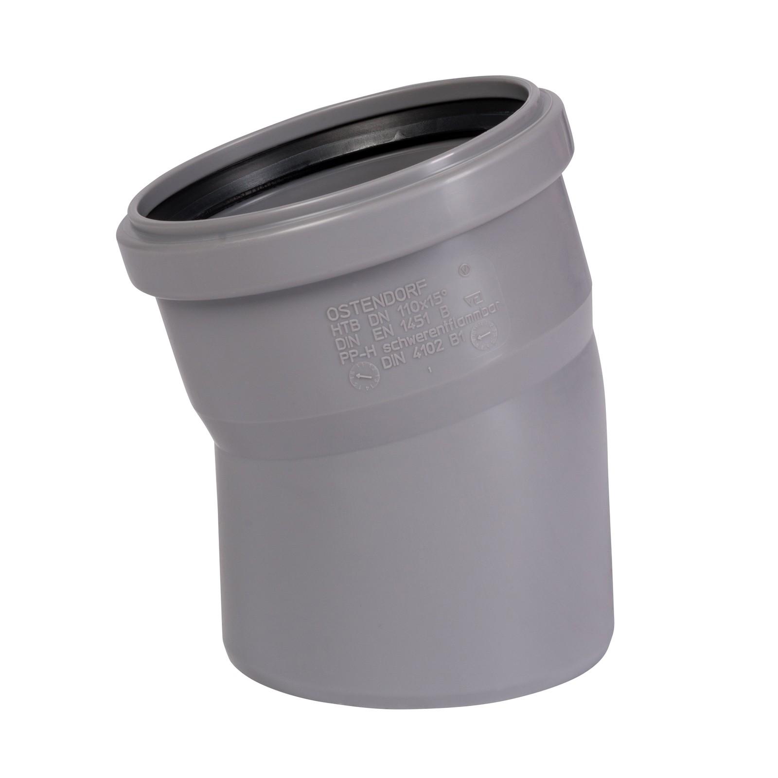 Ht bogen dn110 15 rohr 100mm kunststoff abwasserrohr grau - Abwasserrohr durchmesser tabelle ...