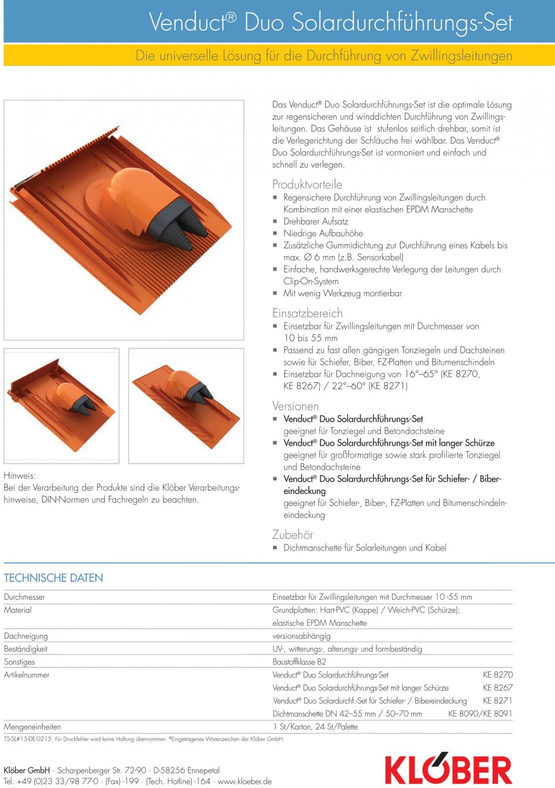 kl ber venduct duo solardurchf hrungs set rot dachdurchf hrung ke8270 0100 ebay. Black Bedroom Furniture Sets. Home Design Ideas
