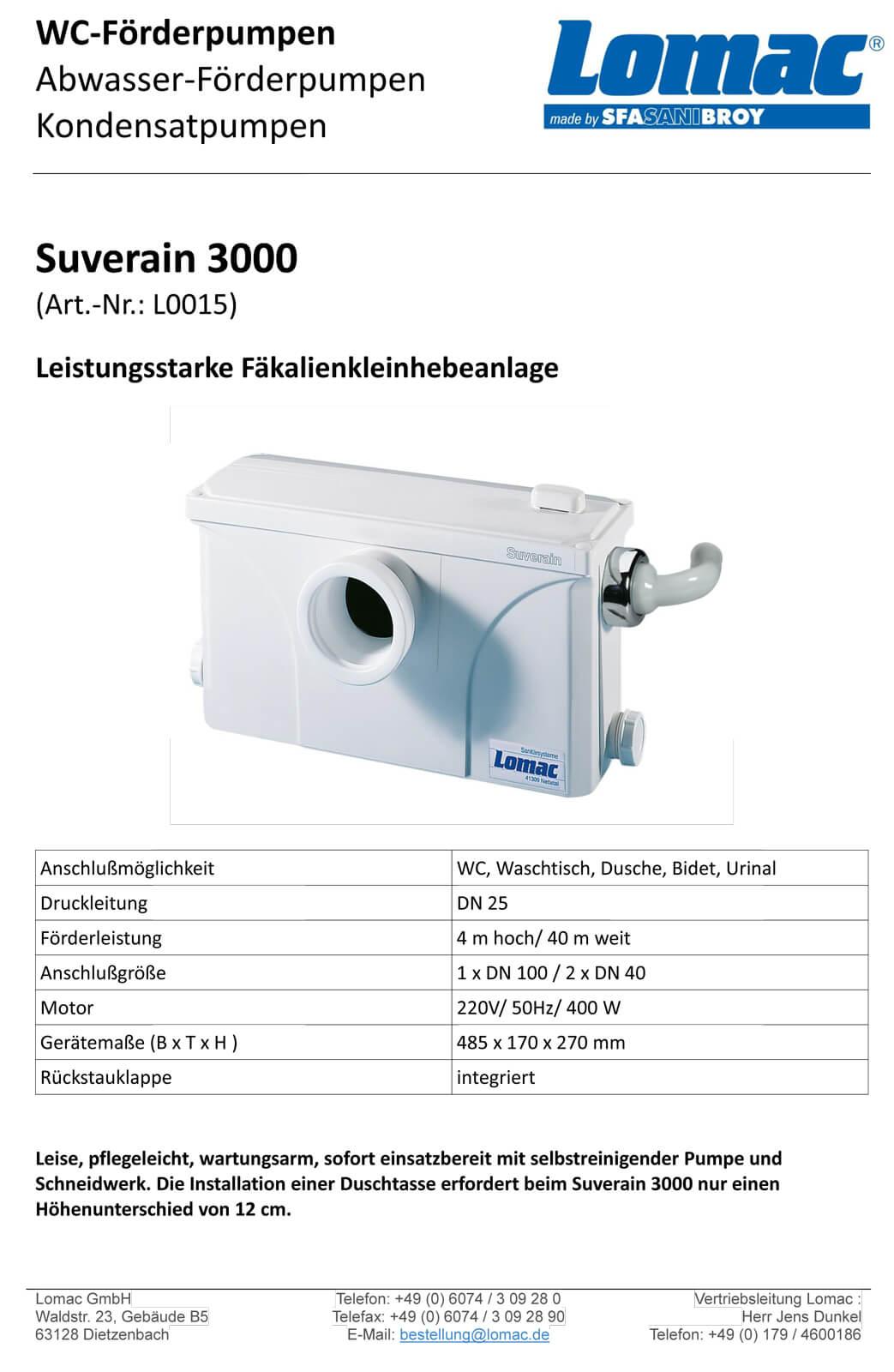 SFA Sanibroy Lomac L0015 Suverain 3000-A Fäkalienhebeanlage WC Hebeanlage Fäkalienpumpe Abwasserpumpe Schneidwerk Hecksler