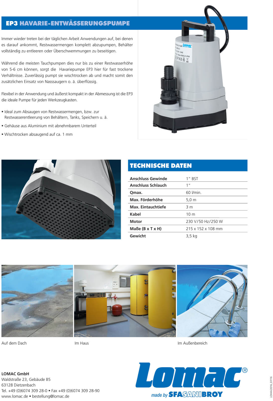 SFA Sanibroy Lomac Havariepumpe Blue-Max BM CIA EP3 flachsaugende Pumpe Flachsaugpumpe Regenwasserpumpe Entwässerungspumpe