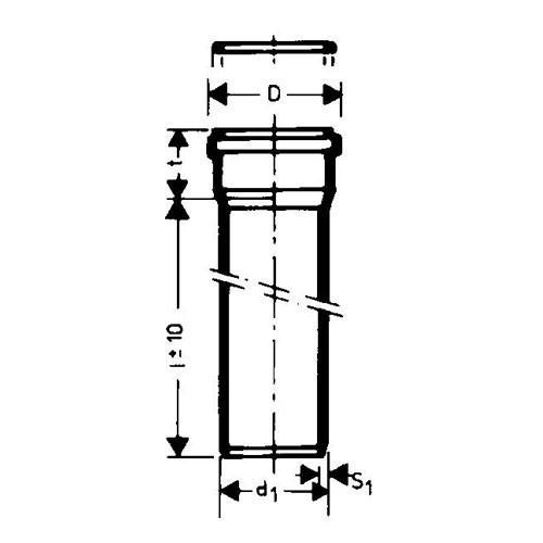 Ht rohr dn75 x 250 mm kunststoffrohr 70 mm abwasserrohr grau - Abwasserrohr durchmesser tabelle ...
