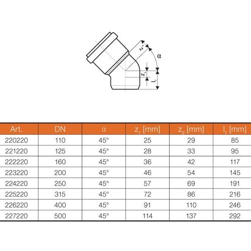 kg bogen dn200 45 grad rohr abwasserrohr kanalrohr orange. Black Bedroom Furniture Sets. Home Design Ideas