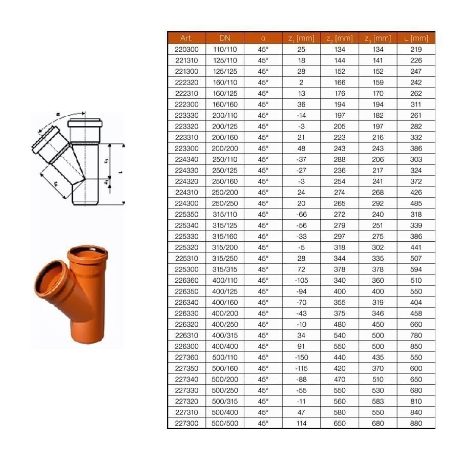 kg abzweig dn250 200 45 abwasserrohr kanalrohr orange. Black Bedroom Furniture Sets. Home Design Ideas