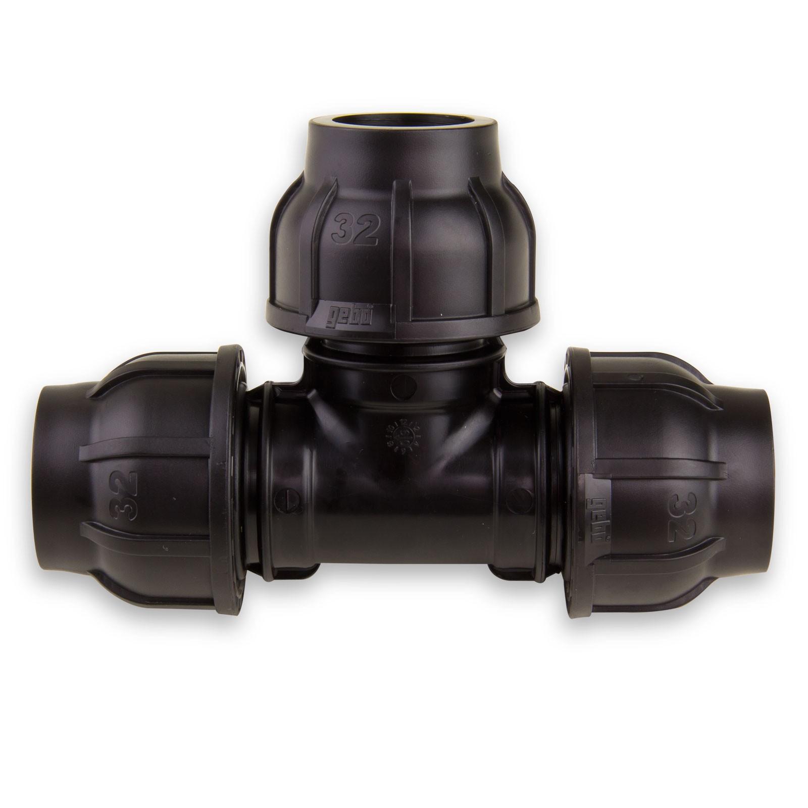PE Rohr T-Stück Verschraubung 63 x 50 mm Reduzierung
